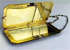 Art Deco Solid 14k Gold Diamond & Enamel Compact