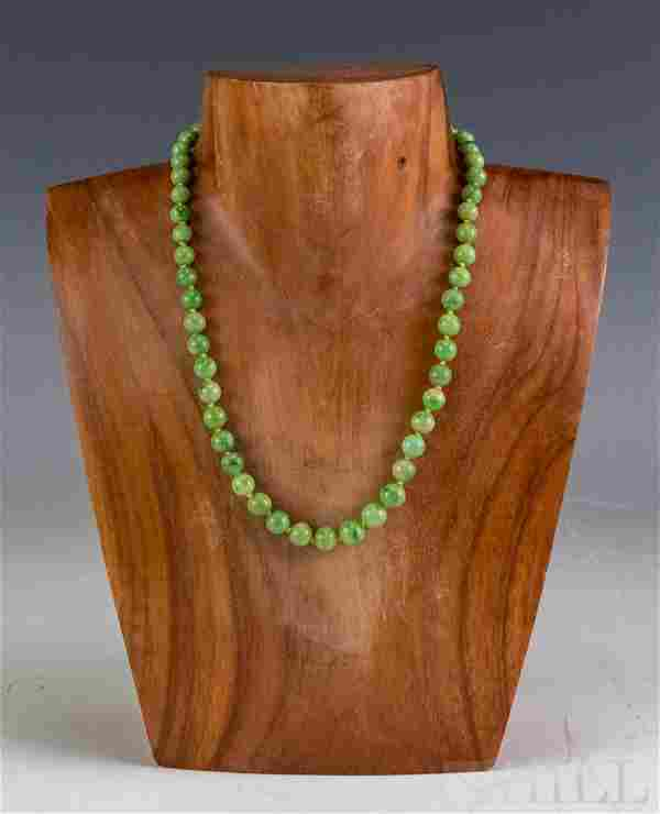 Antique Chinese Apple Green Jade 14k Gold Necklace