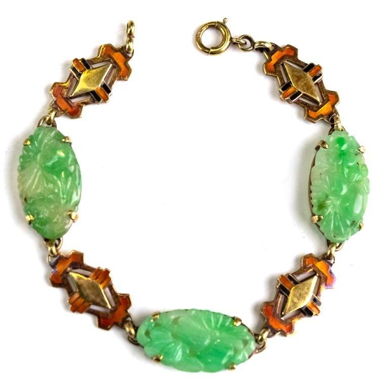 Deco 14k Green Translucent Jade Enamel Bracelet