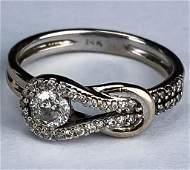 Ladies 14k White Gold .50 CTTW Diamond Buckle Ring