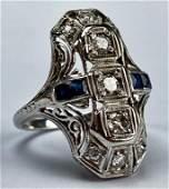 18k Gold Art Deco Diamond  Sapphire Filigree Ring