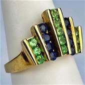 Sapphire & Peridot Gemstone Crown 10k Gold Ring