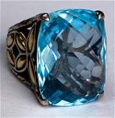 John Hardy 18k & 925 Silver Blue Topaz Ring