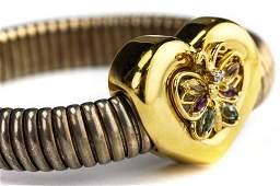 Signed 14k Gold  Sterling Butterfly Bracelet