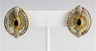 Pair Sapphire & Diamond 14k Gold Gemstone Earrings