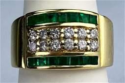 Men's Diamond & Green Emerald Gemstone 14k Gold Ring