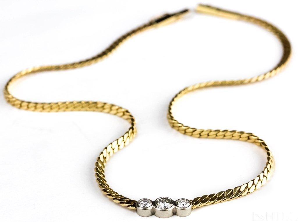 14k Gold 1.25 CT TW 3 Stone Diamond Necklace