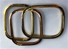 3 Rose & Yellow 14k Gold Diamond Bangle Bracelets