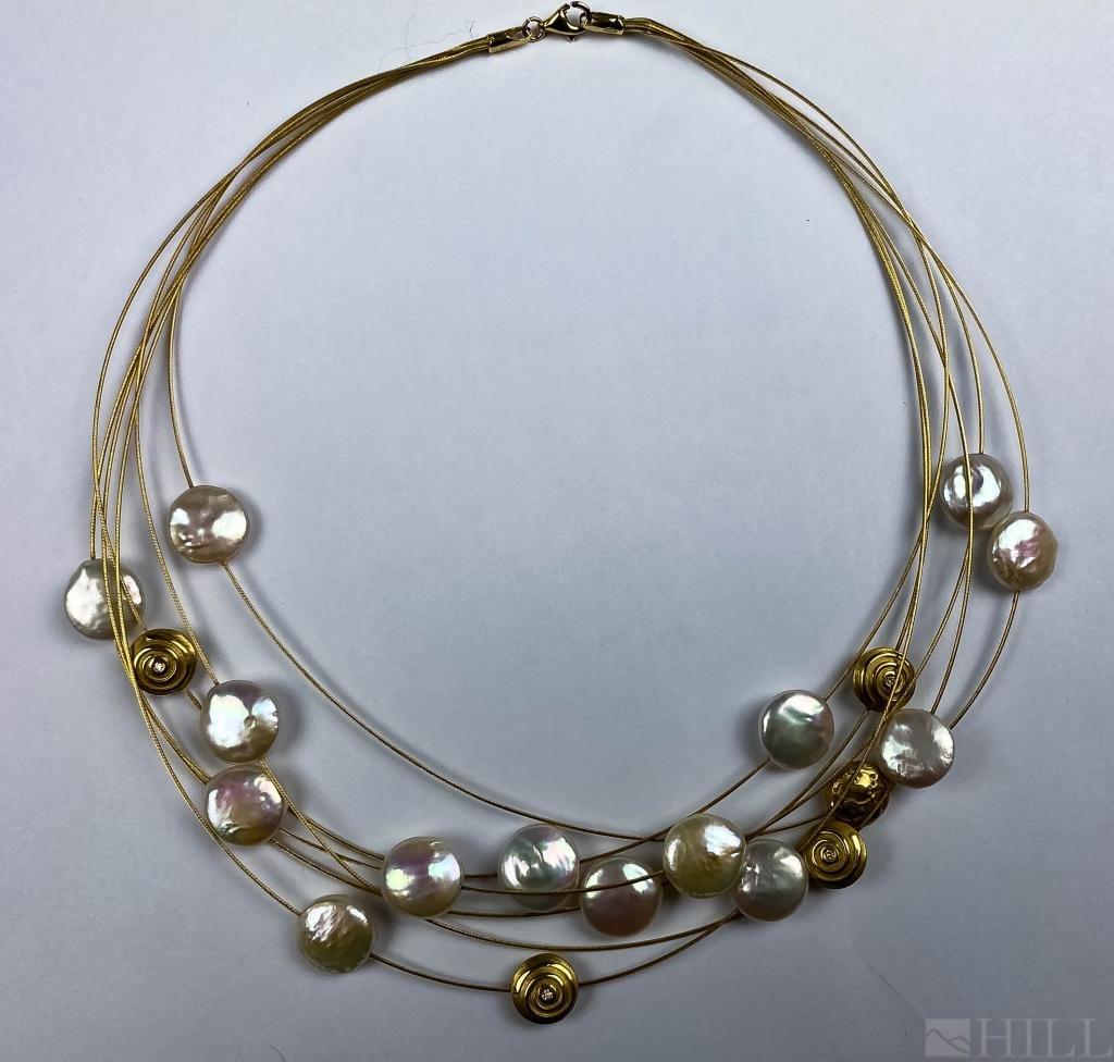 18k Gold 6 Strand Button Pearl Diamond Necklace