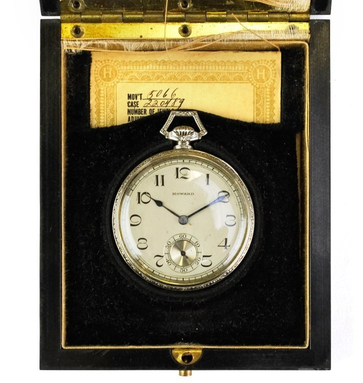 14k White Gold Howard Pocket Watch w/ Box & Papers