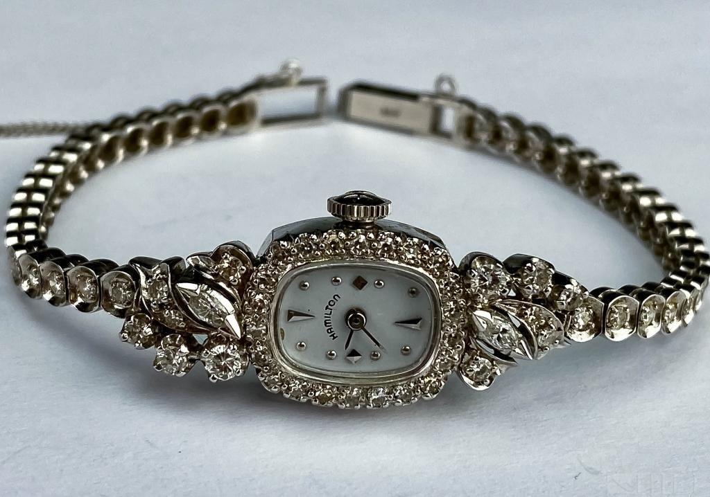 VTG 14k Hamilton 1.5 CTTW Diamond Cocktail Watch