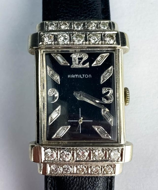 Men's Hamilton 14k White Gold Diamond Dress Watch