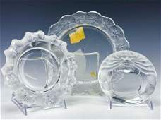 Lot 3 Lalique French Crystal Art Glass Bowls Plate