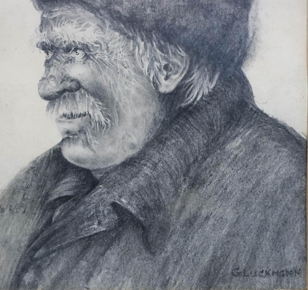 Signed Gluckmann Pencil On Paper Drawing Of A Man