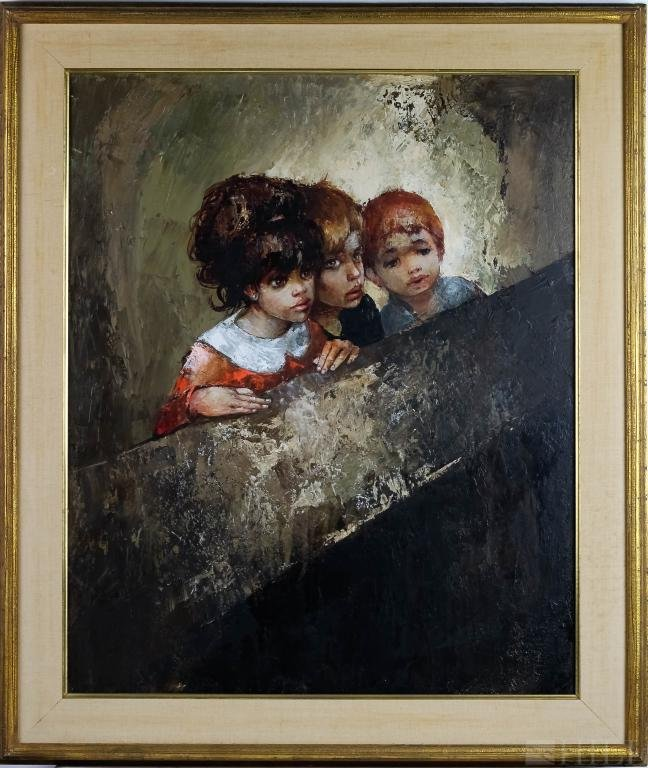 Bernard Locca Oil On Canvas Painting Of Children
