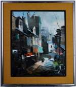 Mid Century French Montmarte Oil  Canvas Painting