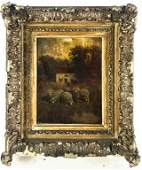 Antique Figural Landscape Sheep Farm Oil Painting