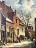 Figural Farmhouse Winter Landscape Oil Painting