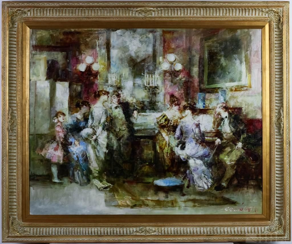 Impressionist Figural Interior Oil Painting SIGNED