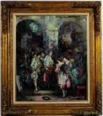 Figural Impressionist Interior Oil Painting SIGNED