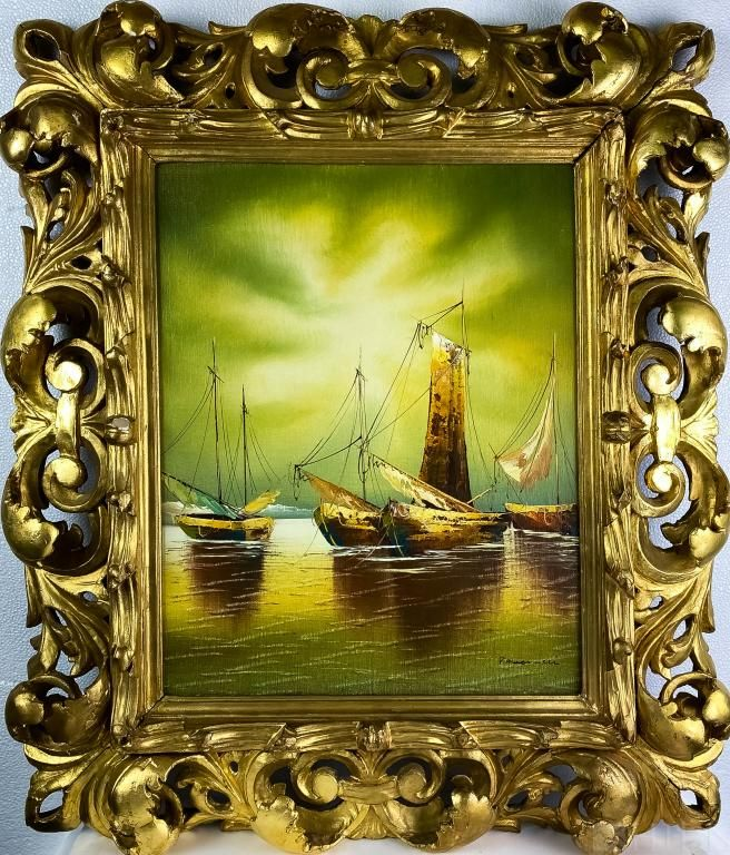 Seascape Sailboat Oil Painting Rococo Gilt Frame