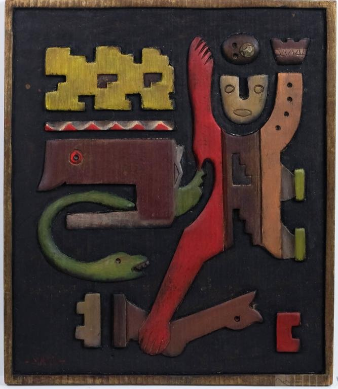 Francisco Matto Mixed Media Wood Hanging Sculpture