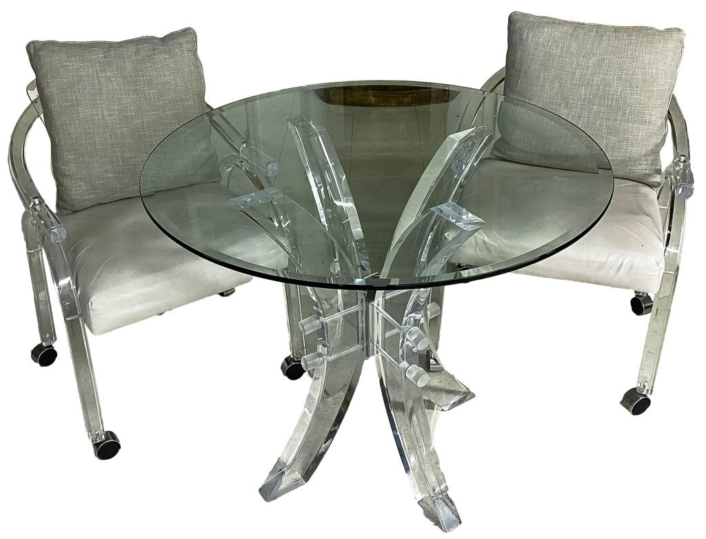 Mid Century Modern Lucite Glass Top Table 2 Chairs