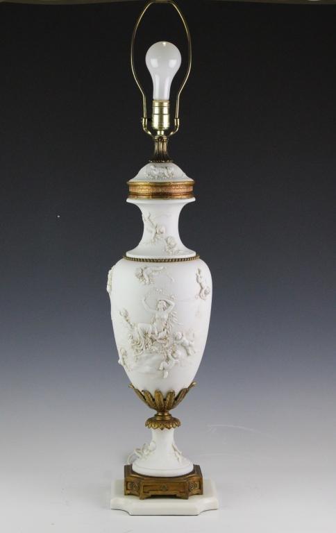 Old Bisque Porcelain Raised Figural Cherub Lamp