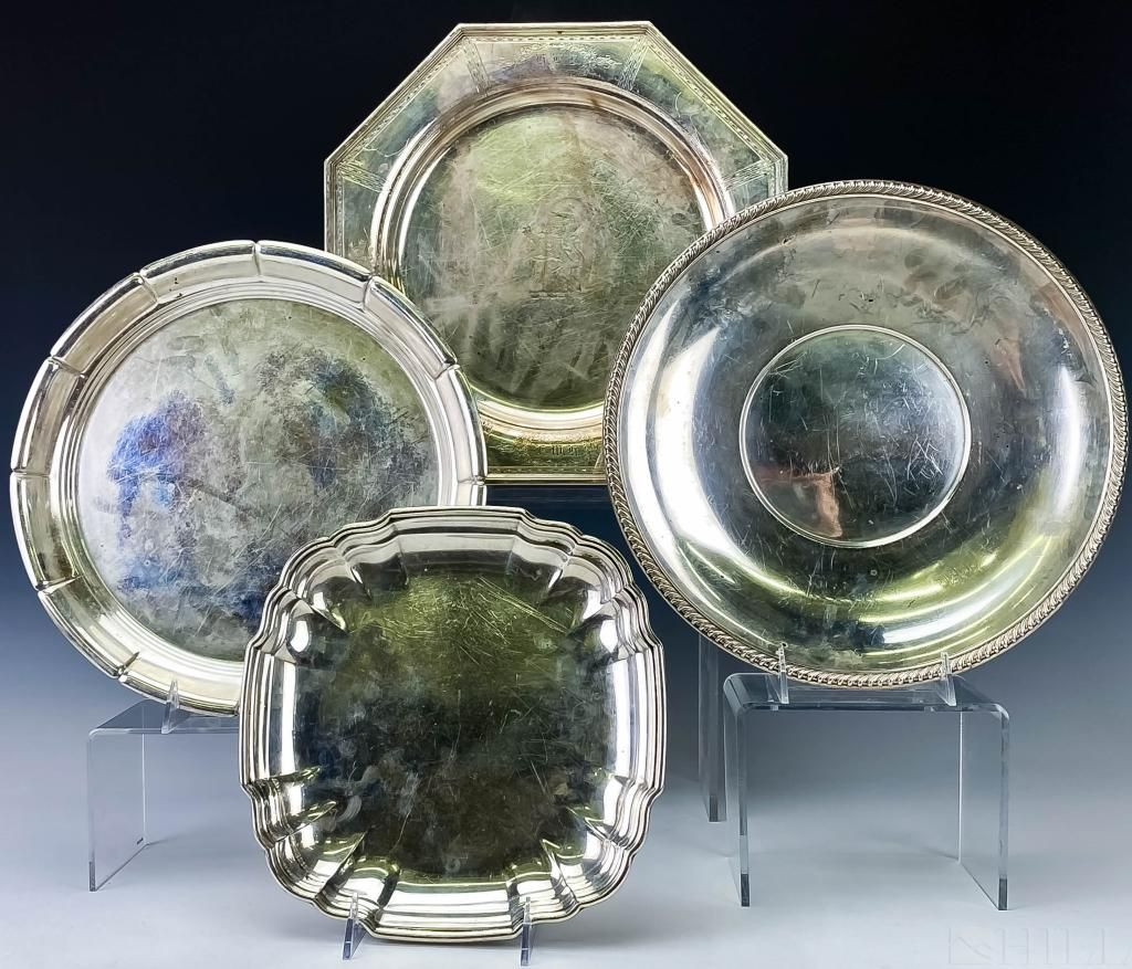 Set of Four Sterling Silver Bowl Trays 2,810g