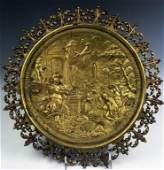 Antique European Roman Gilt Bronze Relief Plaque