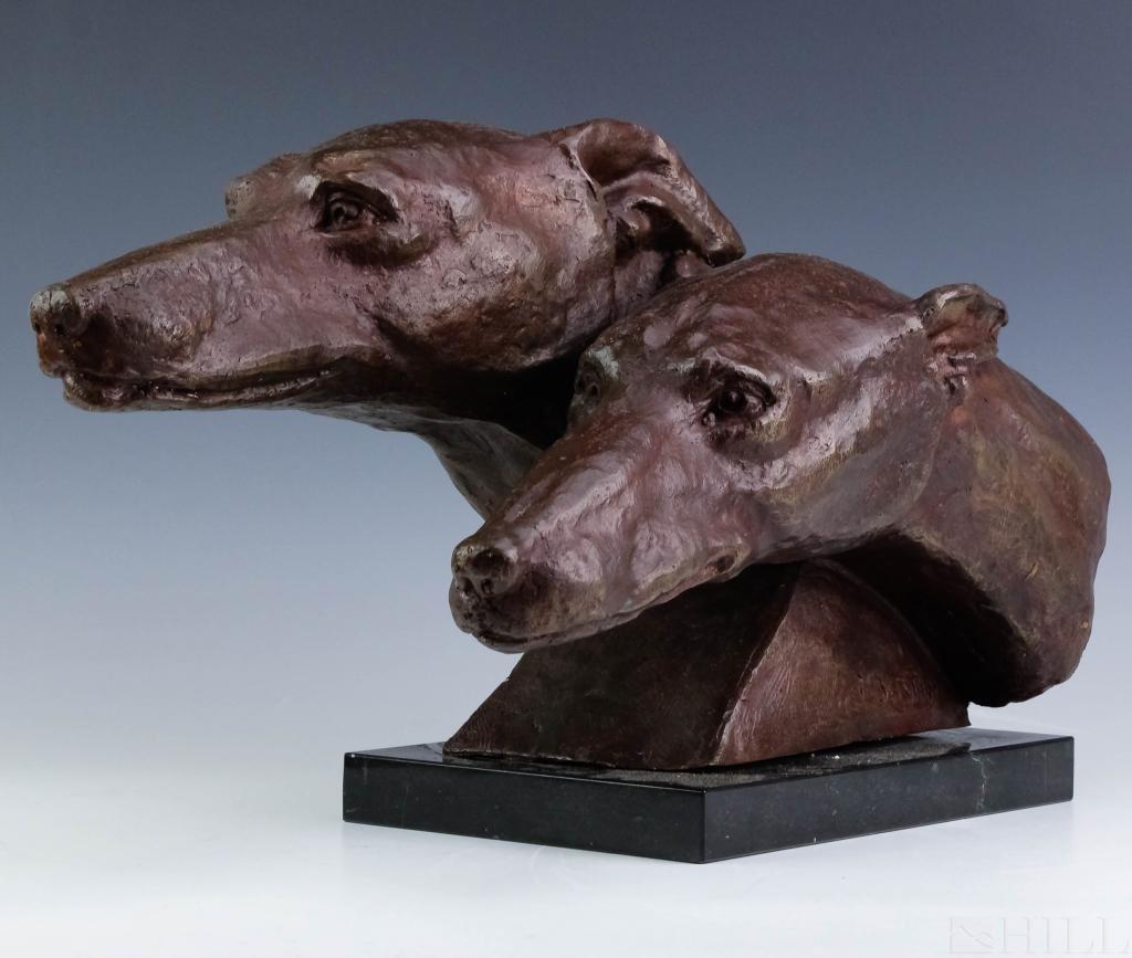 M. Bertin Bronze PR Greyhound Dog Bronze Sculpture