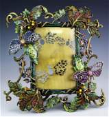 Jay Strongwater Floral Dragonfly Enamel Frame 4x6