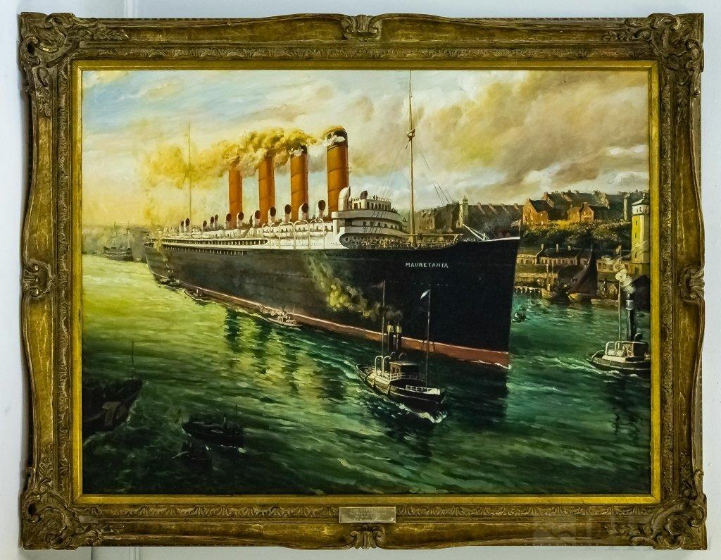 Thomas Henry Mauretania Ship Boat Oil Painting