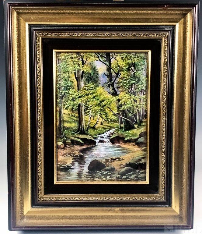 Jean Betourne Enamel Landscape Limoges Painting