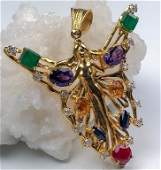 14K Gold  Diamond Art Nouveau Fairy Pendant 22gr
