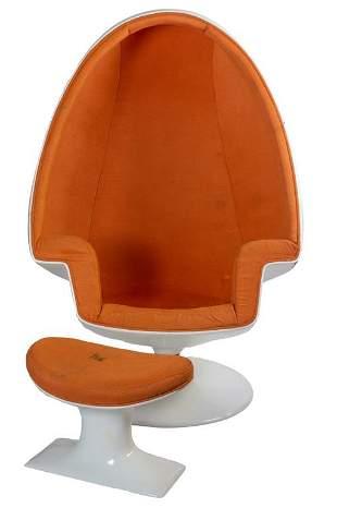 Lee West Mid Century Modern Alpha Egg Chair Stool