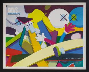 KAWS Gering Lopez Gallery Exhibition Poster FRAMED
