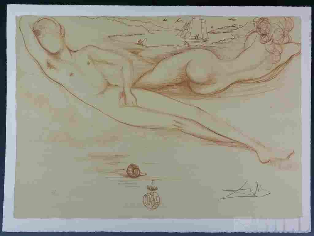 Salvador Dali Surreal Nude Figural Beach LE Litho