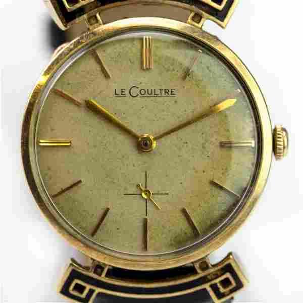 Vintage LeCoultre 14k Gold Enamel Fancy Case Watch
