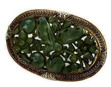 Antique 14k Carved Chinese Green Jade Brooch Pin