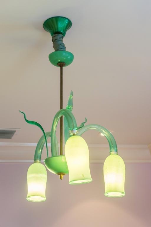 Vintage Murano Italian Art Glass Green Chandelier