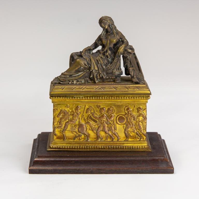Antique Grand Tour Era Bronze Dore Lidded Box