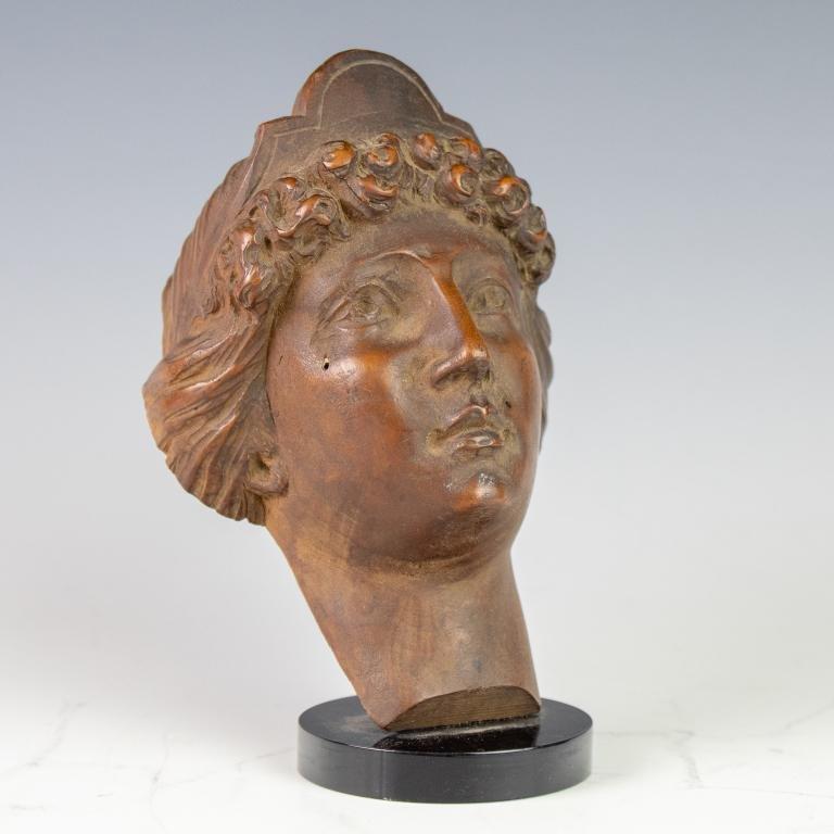 Antique Carved Wood Bust Of Goddess Athena