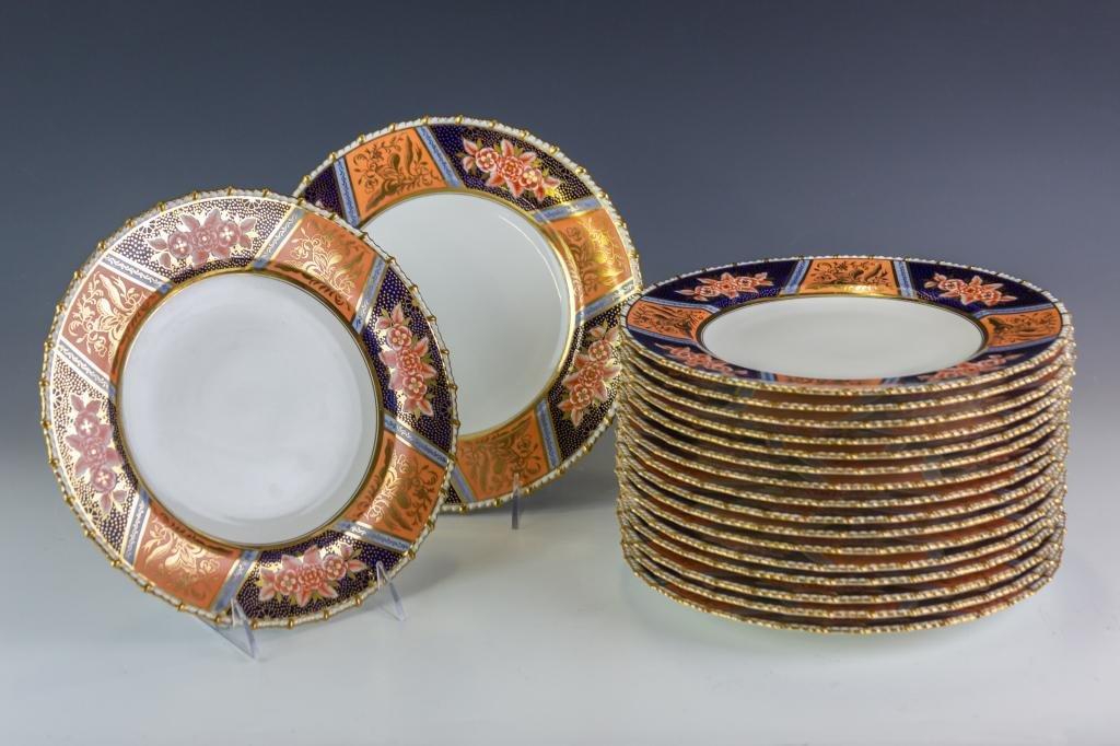 Set 18 Royal Crown Derby Porcelain Dinner Plates