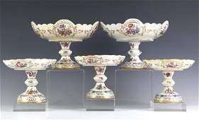 Lot 5 KPM Berlin Porcelain Footed Floral Compotes
