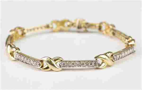 "14k Gold 1.65 CTTW Diamond Tennis Bracelet 7.25"""