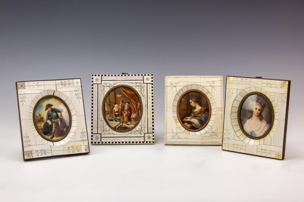 LOT 4 Antique Miniature Fine Hand Painted Portrait