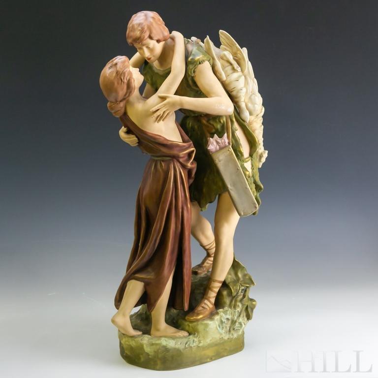 Royal Dux Figural Group Goose Hunter Figurine