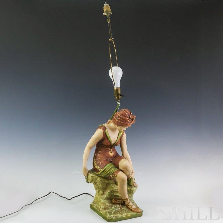 Antique Royal Dux Seated Ballerina Porcelain Lamp