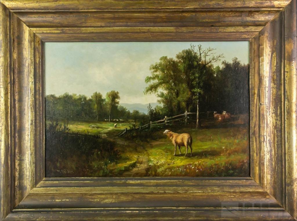 Antique W. Webber Pastoral Landscape Oil Painting